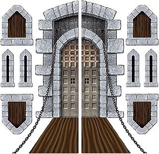 "Beistle Printed Castle Door and Window Props, 16"" to 5' 4"", 9 Pieces In Package"