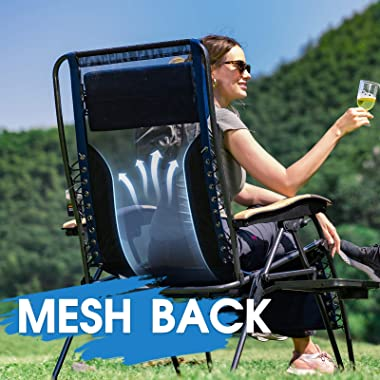 PORTAL Mesh Back Oversize Zero Gravity Recliner Chairs Adjustable Patio Lounger Chairs Lumbar Support Pillow Side Table, Supp