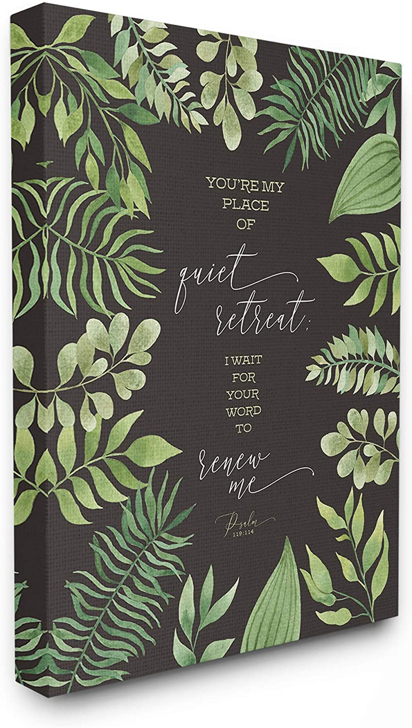The Stupell Home Decor You're My Place of Quite Retreat Green Leaf Psalm Quote Typography Stretched Canvas Wall Art 11x14 Multi-color
