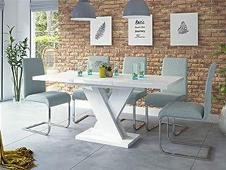 Sellon24/Signal Table de salle à manger extensible en acrylique SENOSAN Dixon Blanc brillant 120-170 cm