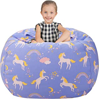 """Aubliss Stuffed Animal Storage Bean Bag Chair Cover Only for Plush Toys, Blankets, X-Large 48""""-Canvas Unicorn Light Blue"""