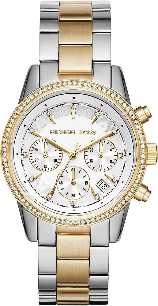 Michael kors, orologio cronografo da donna,in acciaio inossidabile, con finitura lucida MK6474