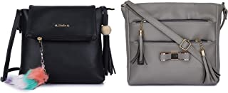 GLOSSY Women's PU Sling Bag with Keychain and Sling Bag with 5 Zip Compartments Combo (Black and Khaki)