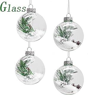 Victors Workshop Juego de 4 Bolas de Navidad Decoracion arbol Navidad Adornos navideños de Cristal Transparente