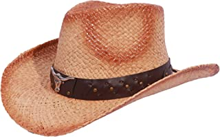 Enimay Men's Womens's Western Outback Straw Canvas Outdoor Cowboy Hat