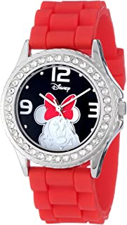 Disney Women's MN1052 Rhinestone Accent Minnie Mouse Red Rubber Strap Watch