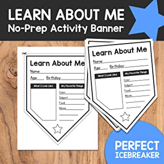 Learn About Me: NO PREP Get-To-Know Each Other Activity Banner - Icebreaker Activity & Classroom Decor