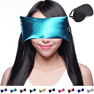 Happy Wraps Lavender Eye Pillow - Weighted Hot Cold Aromatherapy Lavender Eye Pillows for Yoga Sleeping Migraines Pain Stress Relief - Gifts for Christmas, Employees, Women - Free Eye Mask - Teal