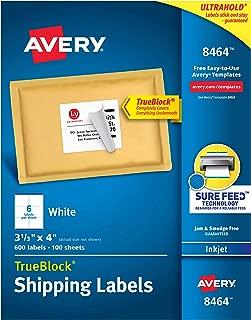 Avery Shipping Address Labels, Inkjet Printers, 600 Labels, 3-1/3x4 Labels, Permanent Adhesive, TrueBlock (8464)