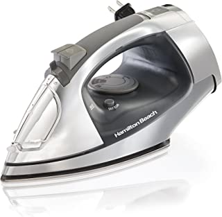 Hamilton Beach Steam Iron & Vertical Steamer for Clothes with Stainless Steel Soleplate, 1500 Watts, Retractable Cord, 3-Way Auto Shutoff, Anti-Drip, Self-Cleaning, Chrome and Silver (14881)