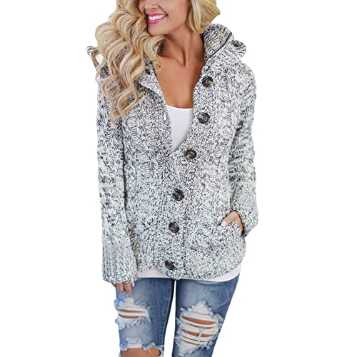 d9cd2cdde8e Asvivid Womens Hooded Cable Knit Button Down Outwear Fleece Sweater  Cardigans Coats with Pockets
