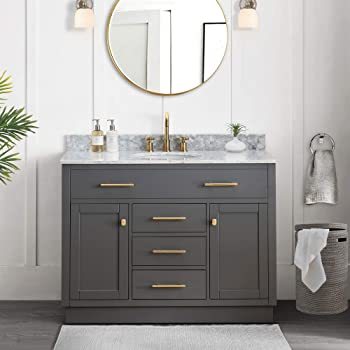SJ Collection Defoe 48 in. Shaker Style Single Sink Bathroom Vanity, Blue Gray