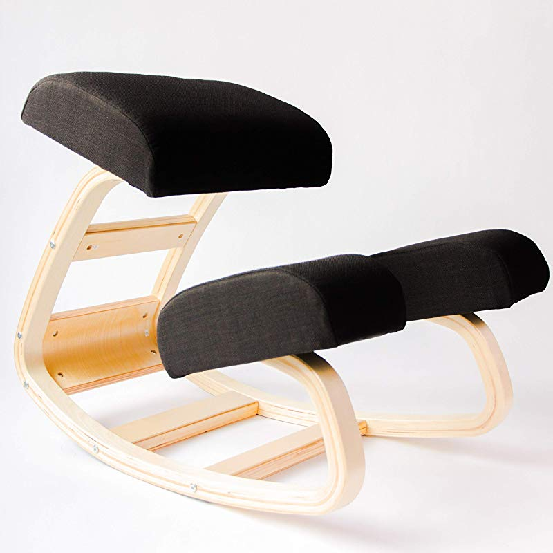 Sleekform Kneeling Chair Rocking Ergonomic Wood Knee Stool For Office Home Posture Correcting For Bad Backs Neck Pain Spine Tension Relief Orthopedic Balance Seat Thick Knees Cushions
