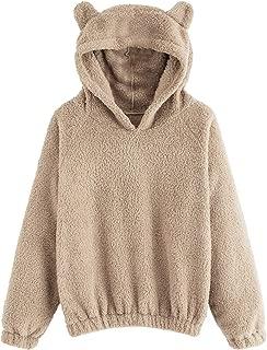 SweatyRocks Women's Sherpa Pullover Fuzzy Fleece Sweatshirt Cute Ear Long Sleeve Causal Hoodie Top