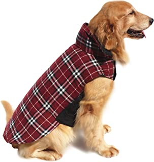 Hiado Dog Coats Clothes with Harness Hole British Style for Winter Cold Weather
