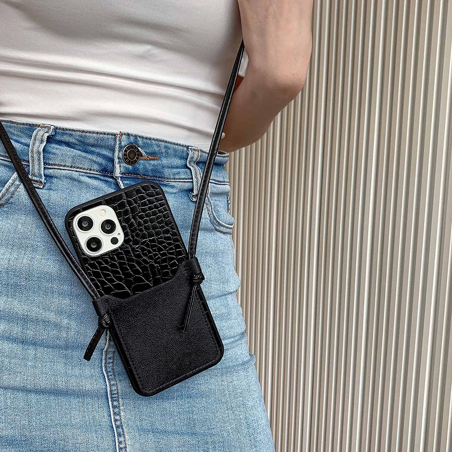 Leather Wallet Case Compatible with iPhone 11 Crossbody Phone Case Lightweight Mini Shoulder Bag Wallet for Women Lanyard Crocodile Pattern Shockproof Case(Crocodile Black,Iphone11)