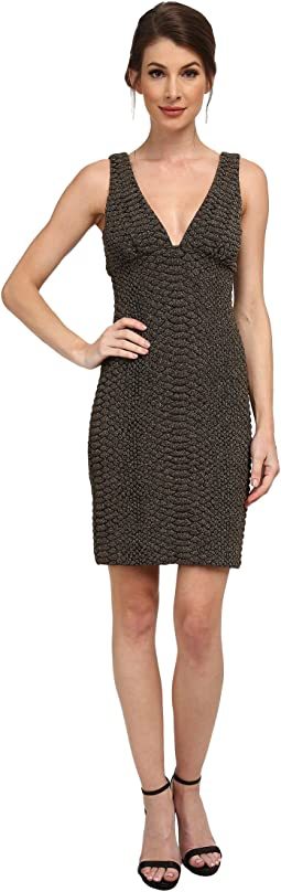 Nicole Miller - Knit Scales Plunging Gold Party Dress