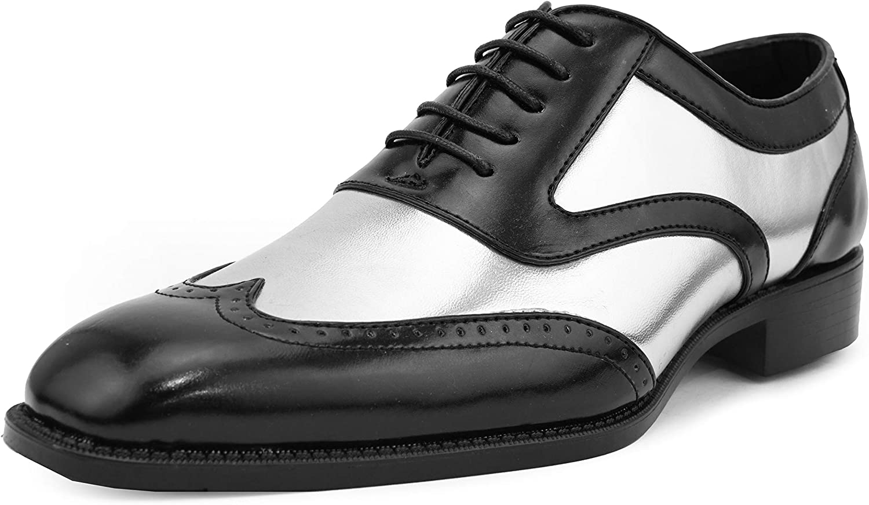 Mens Vintage Shoes, Boots | Retro Shoes & Boots Bolano Lawson Mens Shoes - Dress Shoes for Men - Oxford Shoes for Men - Tuxedo Shoes - Formal Shoes for Men - Shiny Metallic Shoes - Two-Tone Mens Wingtip Dress Shoes  AT vintagedancer.com