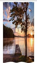 Ambesonne Seascape Stall Shower Curtain, Shore of Seventh Lake Tree Sunbeam at Sunset Water Reflection Tranquility, Fabric Bathroom Decor Set with Hooks, 36 W x 72 L Inches, Brown Peach Blue