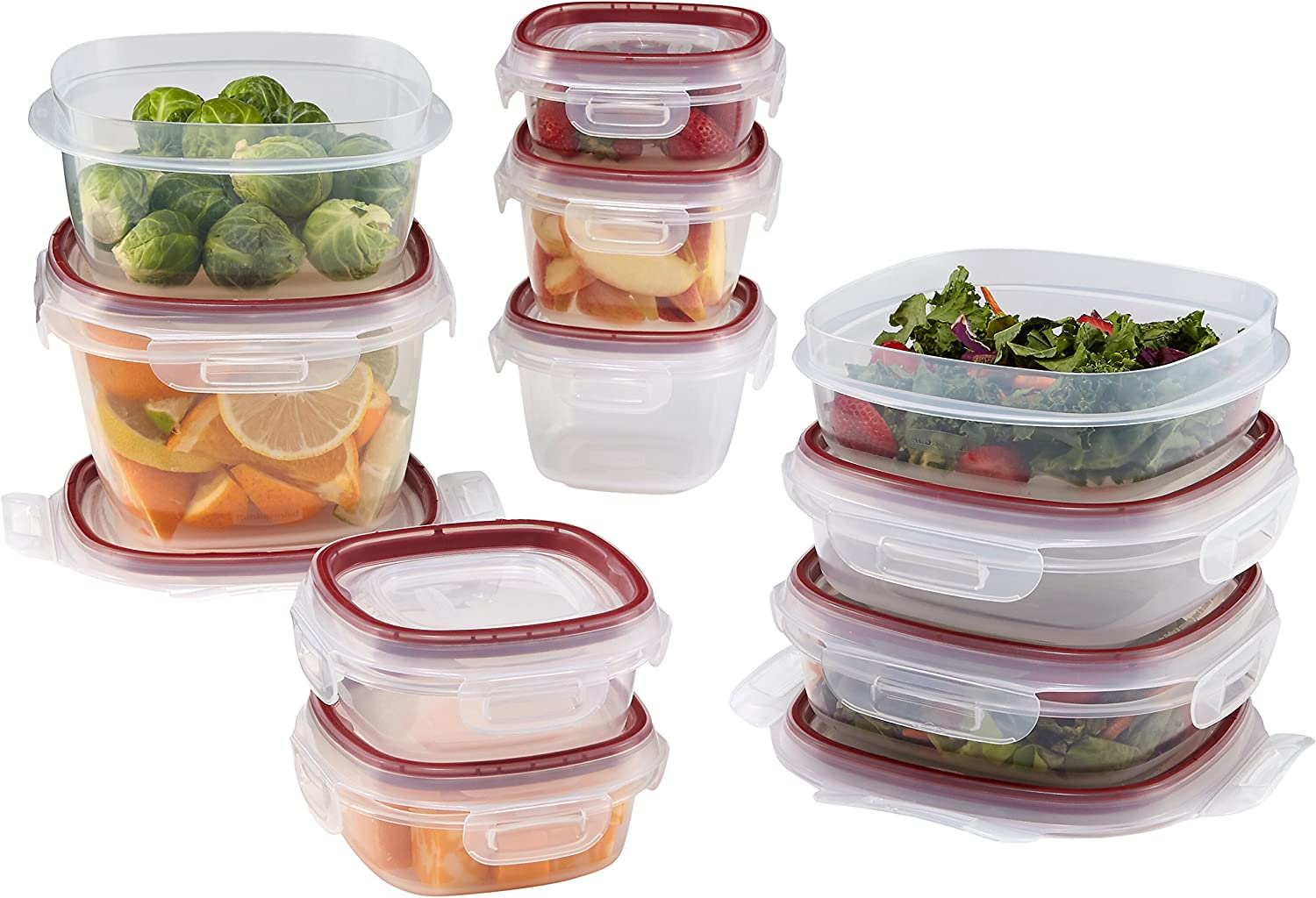 Rubbermaid Lock-Its Food Storage Containers with Easy Find Lids, Racer Red, 20-Piece Set 1842121