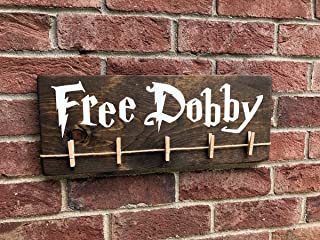 CELYCASY Free Dobby Laundry Room Sign/Potter Sign/Lost Sock Holder/Wizards & Magic/Save Dobby/Free Elf/Funny Teen Gift for her