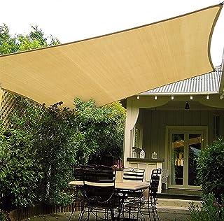 Patio Shack HAIKUS Zonnescherm Zeilrechthoek 2x3 meter, 98% UV-blok Ademend HDPE Tuin Patio Luifel met Gratis Touwen, Zand...