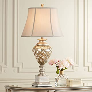 Luke Traditional Table Lamp with Nightlight LED Mercury Glass Off White Mist Fabric Bell Shade for Living Room Family - Barnes and Ivy