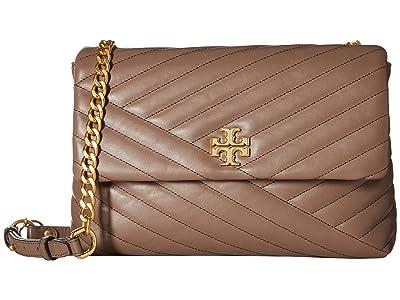 Tory Burch Kira Chevron Flap Shoulder Bag (Classic Taupe) Handbags