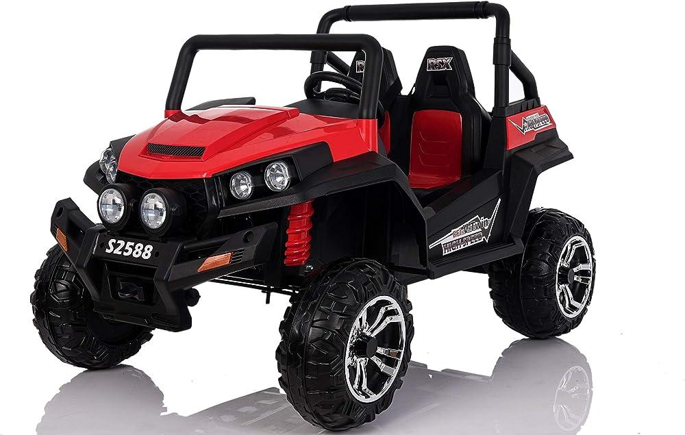 Riricar auto elettrica per bambini 4 ruote motrici sedili in pelle controlla da remoto retromarcia RSX_RED
