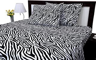 Linen Adda Fitted Sheet and Pillowcase Set, Twin Size, Zebra Print, 100% Cotton, Sateen Weaved - Pure 400 Thread Count Natural Cotton, Bedding Set, 18 Inch Deep Pocket