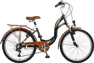 Benotto Bicicleta City Bike Aluminio FS R24 7V Dama Sunrace Frenos V Canastilla Portabulto