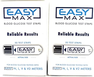 100 EASYMax Blood Glucose Test Strips(2 Boxes of 50)
