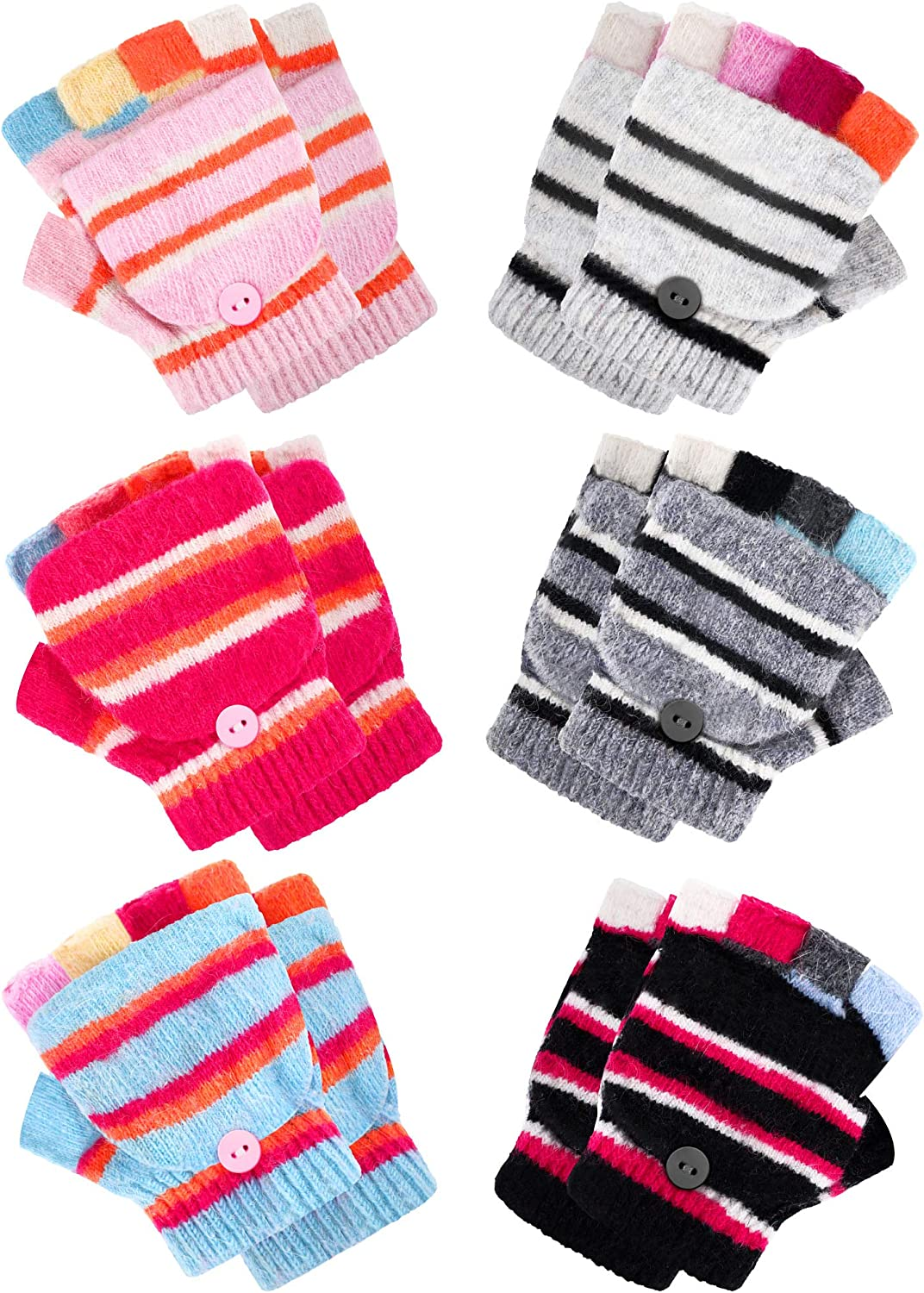6 Pairs Convertible Fingerless Gloves Warm Knit Glove with Mitten Cover for Kids of 4-11 Years Old