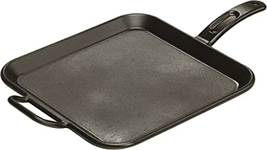 Lodge P12SG3 Pro-Logic 12 Inch Square Cast Iron Griddle. Pre-Seasoned Grill Pan with Dual Handles Black