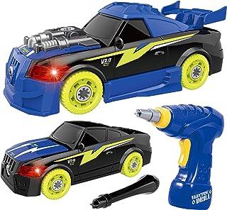 REMOKING DIY 車セット 組み立ておもちゃ ドリルで組立レイシングカー おもちゃ 分解おもちゃ 子供用 サウンド ライト付き26ピース レースカー組立セット 工具セット ボルトを締め付け 走行可能 安全な塗料を採用 車おもちゃ 組み立...