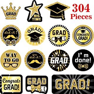 Blulu 304 Pieces Graduation Stickers 32 Patterns - 2019 Graduation Party Supplies Graduation Printed Design Stickers Self Adhesive Featuring Graduation Caps and Diplomas