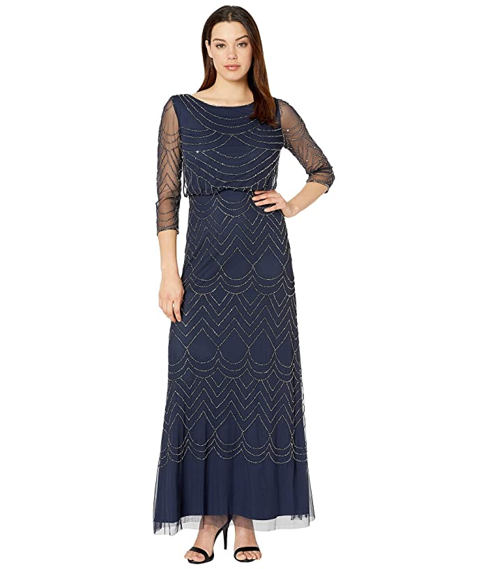 Adrianna Papell 3/4 Sleeve Art Deco Beaded Blouson Gown (Navy) Women