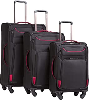 Luggage 3 Piece Set Suitcase Spinner Softshell lightweight (black+red)