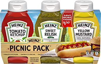 Heinz Variety Pack Ketchup, Sweet Relish & Yellow Mustard, 3 count Sleeve