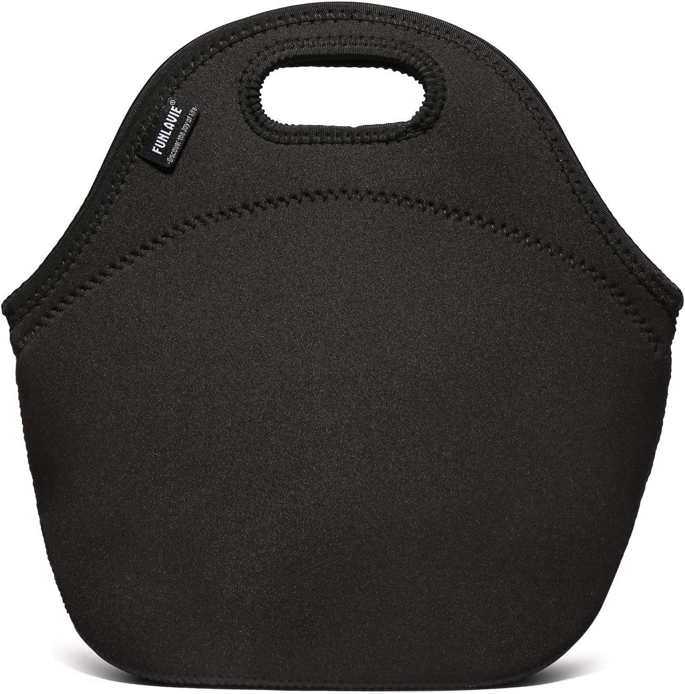 Black 4mm Neoprene Lunch Bags for Men Small Insulated Tote Bag With Zipper for Adults Women - FUNLAVIE