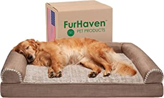 Furhaven Orthopedic Pet Bed for Dogs and Cats - Sofa-Style Faux Fur and Durable Performance Linen Couch Dog Bed with Removable Washable Cover, Woodsmoke, Jumbo (X-Large)