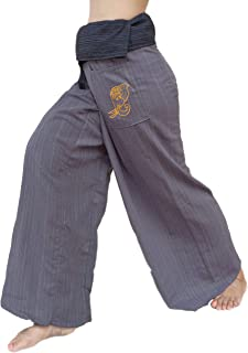 PUFA : 2 Tone Thai Fisherman Pants Yoga Trousers, a Waist up to 70