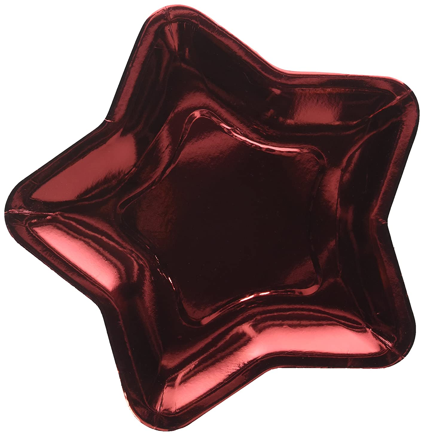Star Shaped 9.6 Inch Foil Paper Party Plates, Set of 24 (Red)