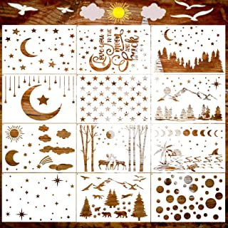Star Stencil, 12 Pcs Moon Tree Stencils for Painting on Wood Bear Deer Stencil Round Circle Stencil for Painting on Canvas...
