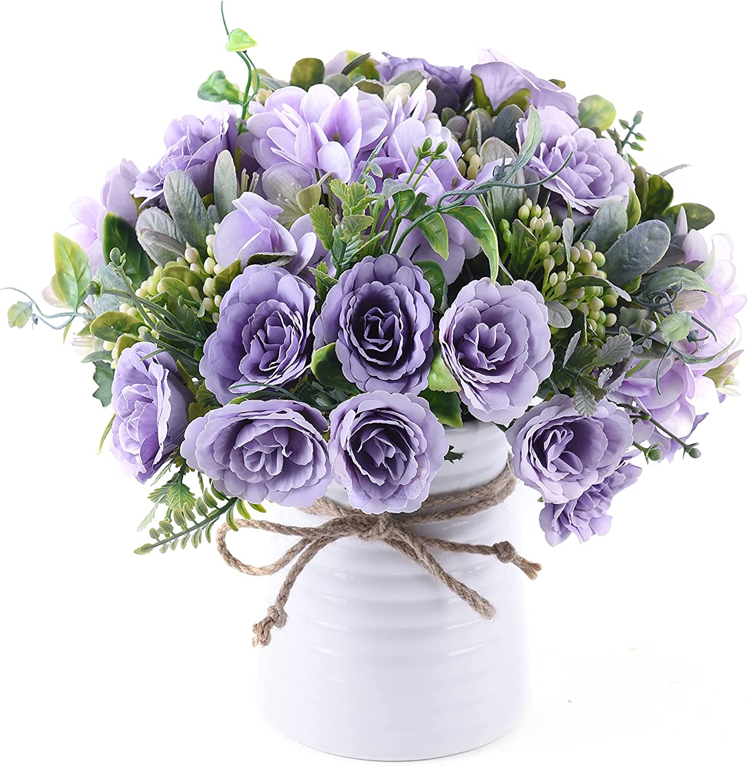 NAWEIDA Artificial Flowers with Vase Faux Flower Arrangements for Table Decor Table Centerpieces for Dining Room-Purple