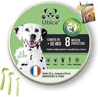Ubica® (X2 Collier Anti Puces pour Chien Naturel Anti Tiques pour Grand Chien (+8kg) – Répulsif – A Base d'Huiles Essentie...