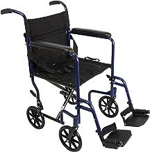 "ProBasics Aluminum Transport Wheelchair - 19"" Wheel Chair Transport Chair - Blue"