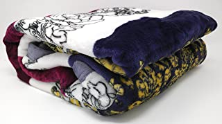 DaDa Bedding Bohemian Carnations Soft Cozy Warm Plush Luxe Flannel Fleece Throw Blanket - Bright Vibrant Solid Striped Floral Multi Colorful Burgundy Navy Yellow White Print - 66