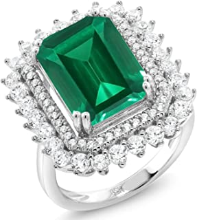 925 Sterling Silver Green Simulated Emerald Women's Ring 7.10 Ct Emerald Cut Available in (Available 5,6,7,8,9)