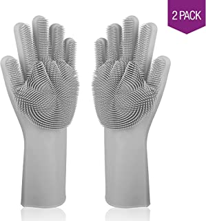 Luxxhome Magic Saksak Dishwashing Gloves | Food Grade Silicone | Restrain Germs | Heat Resistant | Cleaning Brush for Kitchen (Grey), Gray
